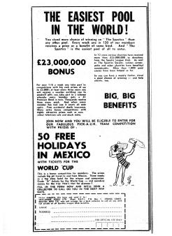 Advertisement in The Green 'Un, Bristol Evening Post's Saturday Sports Supplement.  8th November 1969