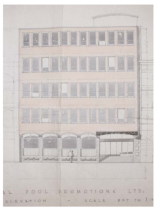 Design for Westmoreland House, approved by Bristol City Council Planning Department, December 1963.  From An Archeological Desk-Based Assessment of Westmoreland House, Dr Roger Leech, 2006