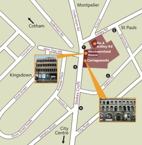 Carriageworks Westmoreland House Bristol site map