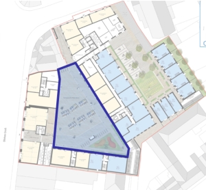 The Fifth Capital proposed scheme with the square outlined in blue.