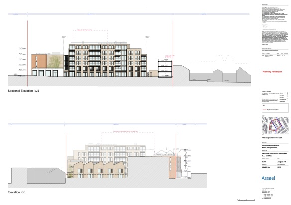 Internal elevations of main block and houses