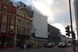 Westmorland House and Carriageworks scaffolding on Stokes Croft