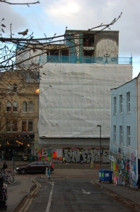 Westmorland House scaffolding on Stokes Croft