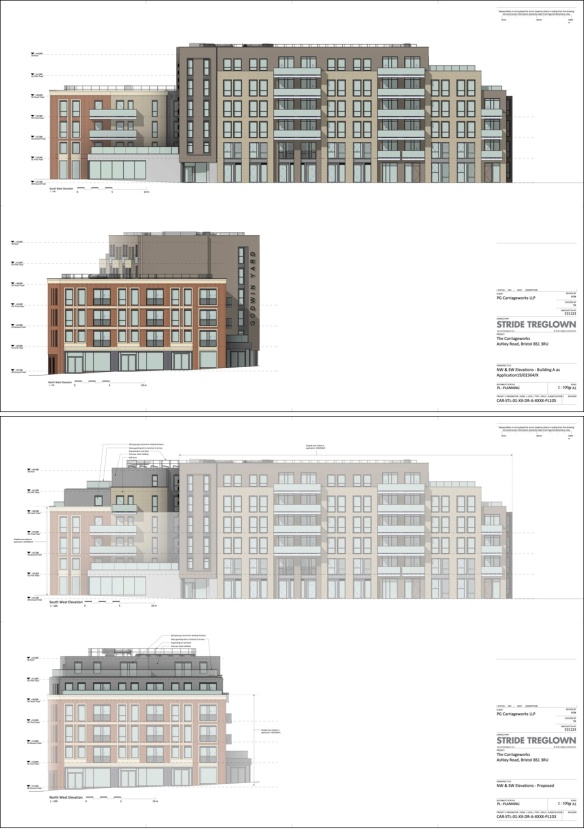 existing and proposed elevations